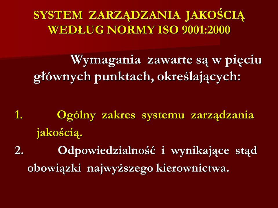 SYSTEM ZARZĄDZANIA JAKOŚCIĄ WEDŁUG NORMY ISO 9001:2000 Wymagania zawarte są w pięciu głównych punktach, określających: 1. Ogólny zakres systemu zarząd