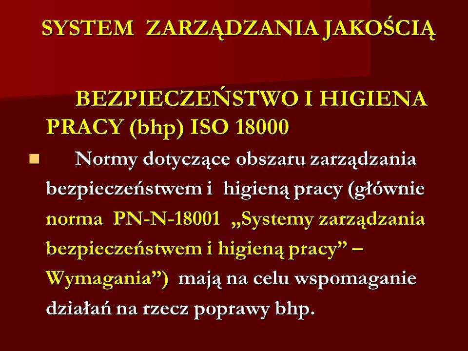"""SYSTEM ZARZĄDZANIA JAKOŚCIĄ BEZPIECZEŃSTWO I HIGIENA PRACY (bhp) ISO 18000 BEZPIECZEŃSTWO I HIGIENA PRACY (bhp) ISO 18000 Normy dotyczące obszaru zarządzania Normy dotyczące obszaru zarządzania bezpieczeństwem i higieną pracy (głównie norma PN-N-18001 """"Systemy zarządzania bezpieczeństwem i higieną pracy – Wymagania ) mają na celu wspomaganie działań na rzecz poprawy bhp."""