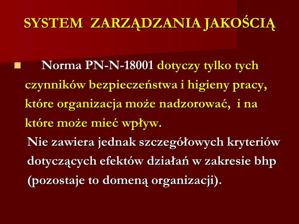 SYSTEM ZARZĄDZANIA JAKOŚCIĄ Norma PN-N-18001 dotyczy tylko tych Norma PN-N-18001 dotyczy tylko tych czynników bezpieczeństwa i higieny pracy, które organizacja może nadzorować, i na które może mieć wpływ.