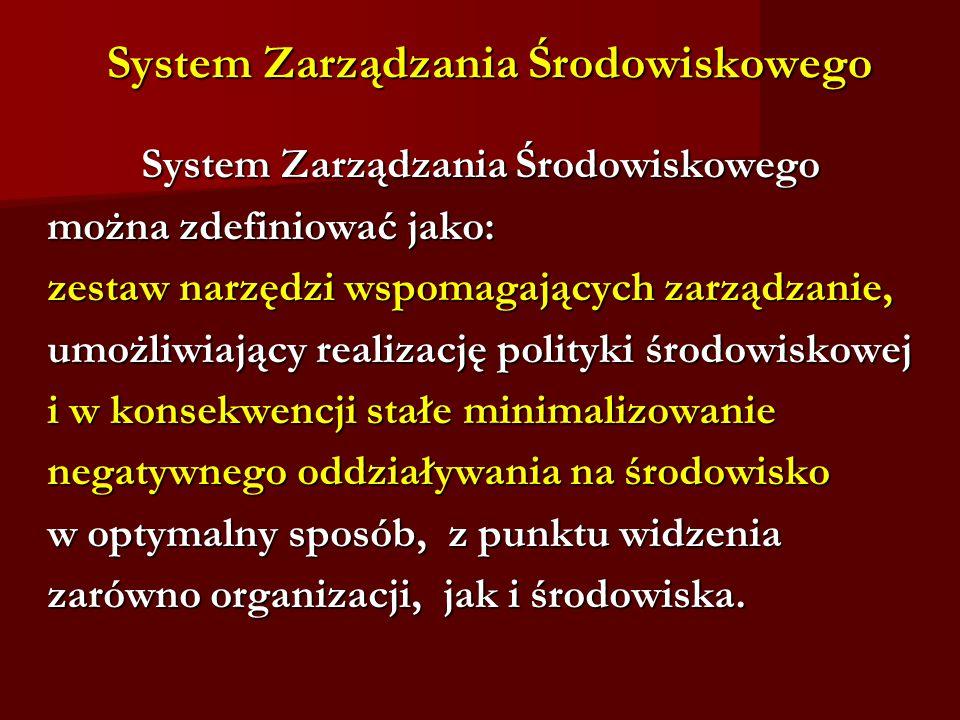 System Zarządzania Środowiskowego System Zarządzania Środowiskowego System Zarządzania Środowiskowego można zdefiniować jako: można zdefiniować jako: