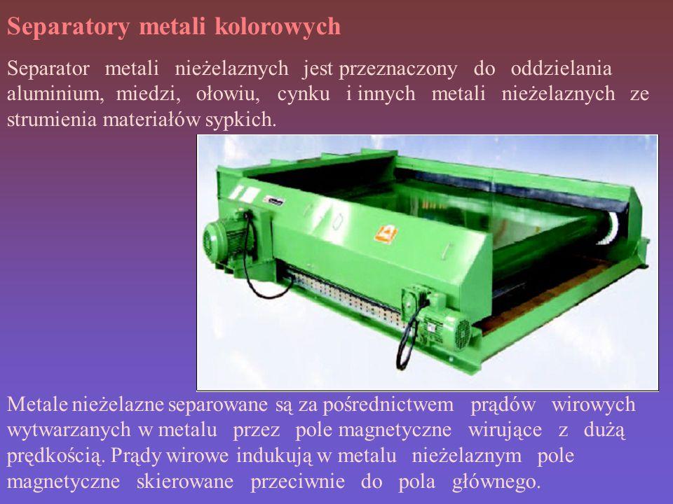 Separatory metali kolorowych Separator metali nieżelaznych jest przeznaczony do oddzielania aluminium, miedzi, ołowiu, cynku i innych metali nieżelaznych ze strumienia materiałów sypkich.