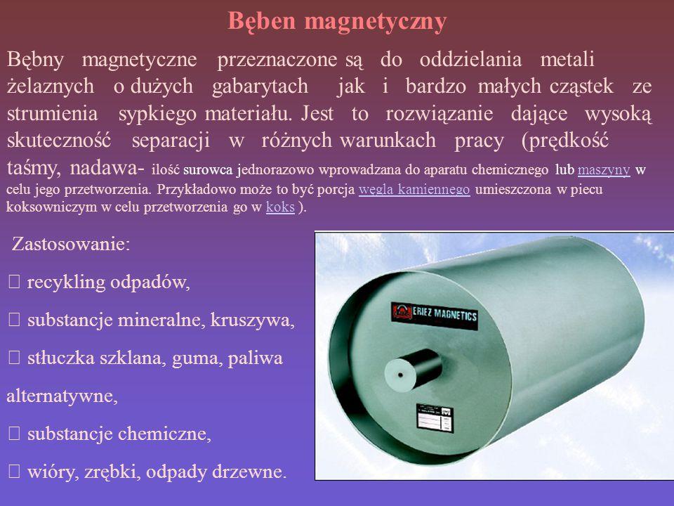 Bęben magnetyczny Bębny magnetyczne przeznaczone są do oddzielania metali żelaznych o dużych gabarytach jak i bardzo małych cząstek ze strumienia sypkiego materiału.