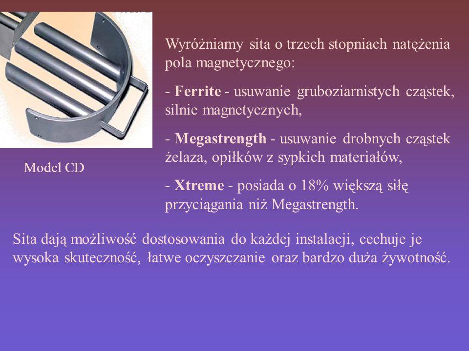 Model CD Wyróżniamy sita o trzech stopniach natężenia pola magnetycznego: - Ferrite - usuwanie gruboziarnistych cząstek, silnie magnetycznych, - Megastrength - usuwanie drobnych cząstek żelaza, opiłków z sypkich materiałów, - Xtreme - posiada o 18% większą siłę przyciągania niż Megastrength.