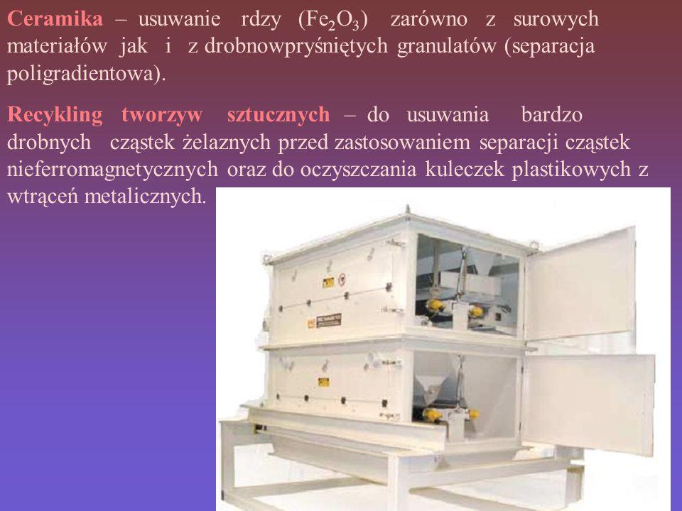 Ceramika – usuwanie rdzy (Fe 2 O 3 ) zarówno z surowych materiałów jak i z drobnowpryśniętych granulatów (separacja poligradientowa).