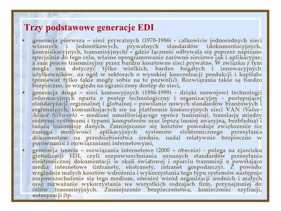 Trzy podstawowe generacje EDI generacja pierwsza – sieci prywatnych (1970-1986) - całkowicie jednorodnych sieci własnych i jednostkowych, prywatnych s