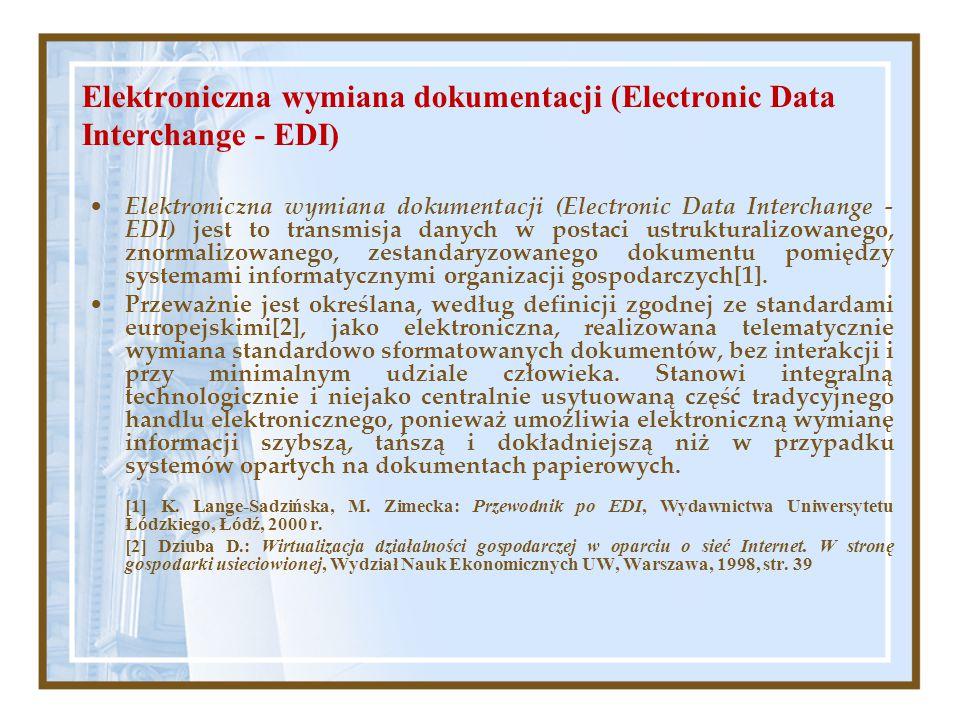 Elektroniczna wymiana dokumentacji (Electronic Data Interchange - EDI) Elektroniczna wymiana dokumentacji (Electronic Data Interchange - EDI) jest to