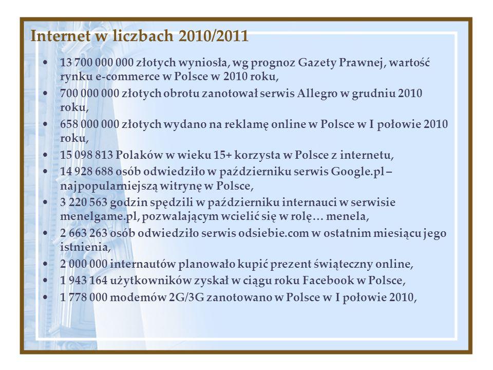 Internet w liczbach 2010/2011 13 700 000 000 złotych wyniosła, wg prognoz Gazety Prawnej, wartość rynku e-commerce w Polsce w 2010 roku, 700 000 000 z