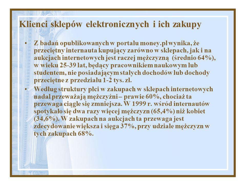 Klienci sklepów elektronicznych i ich zakupy Z badań opublikowanych w portalu money.pl wynika, że przeciętny internauta kupujący zarówno w sklepach, j