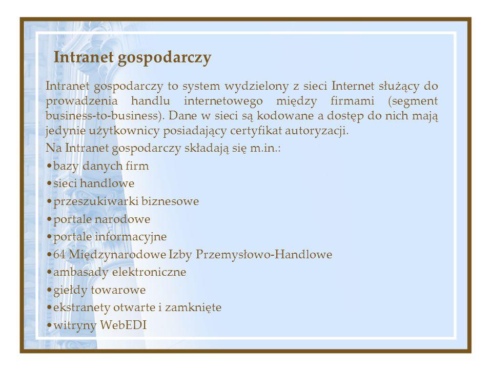 Intranet gospodarczy Intranet gospodarczy to system wydzielony z sieci Internet służący do prowadzenia handlu internetowego między firmami (segment bu