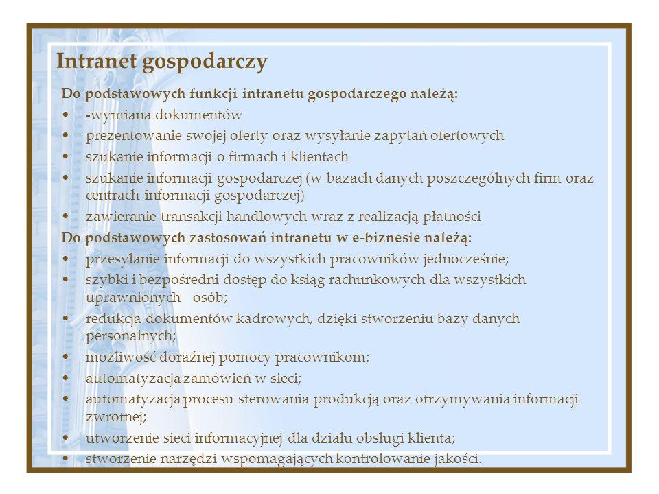 Intranet gospodarczy Do podstawowych funkcji intranetu gospodarczego należą: -wymiana dokumentów prezentowanie swojej oferty oraz wysyłanie zapytań of