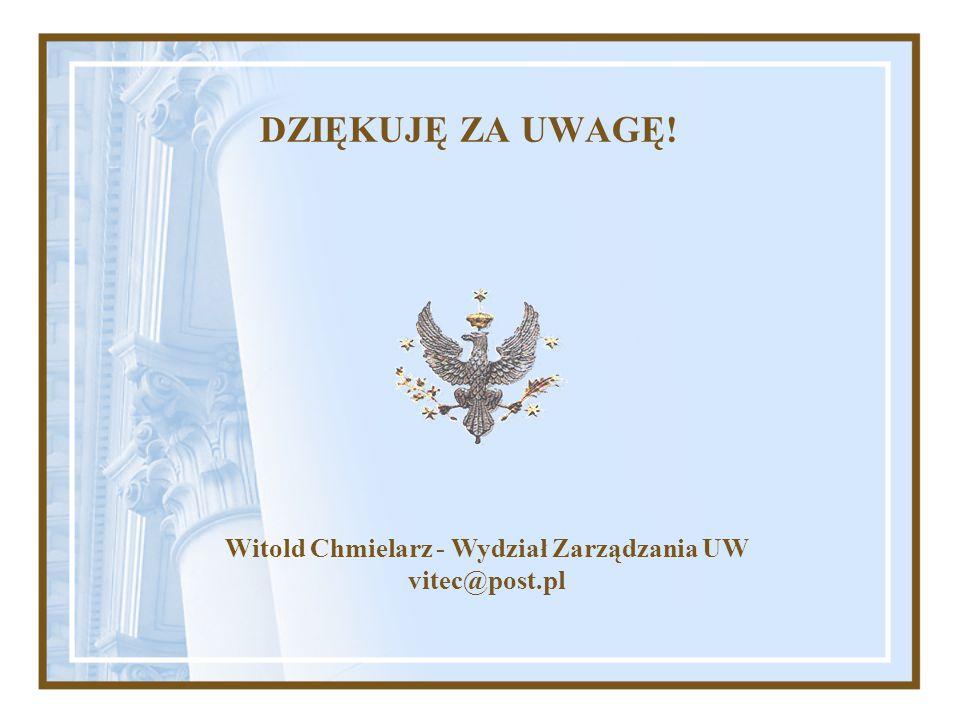 DZIĘKUJĘ ZA UWAGĘ! Witold Chmielarz - Wydział Zarządzania UW vitec@post.pl