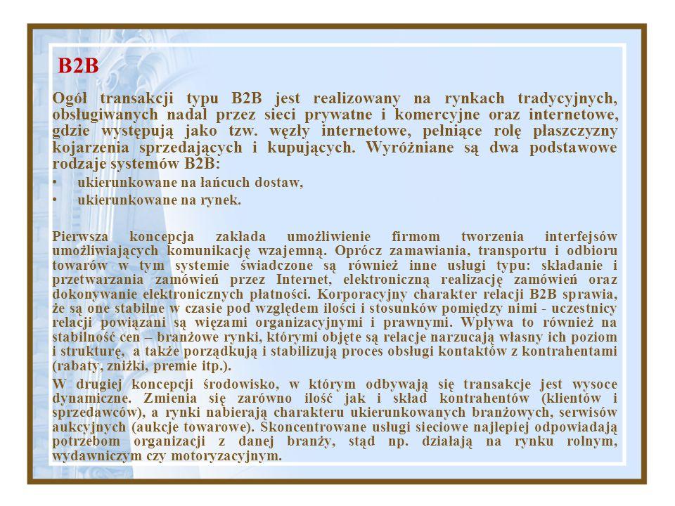 B2B Ogół transakcji typu B2B jest realizowany na rynkach tradycyjnych, obsługiwanych nadal przez sieci prywatne i komercyjne oraz internetowe, gdzie w