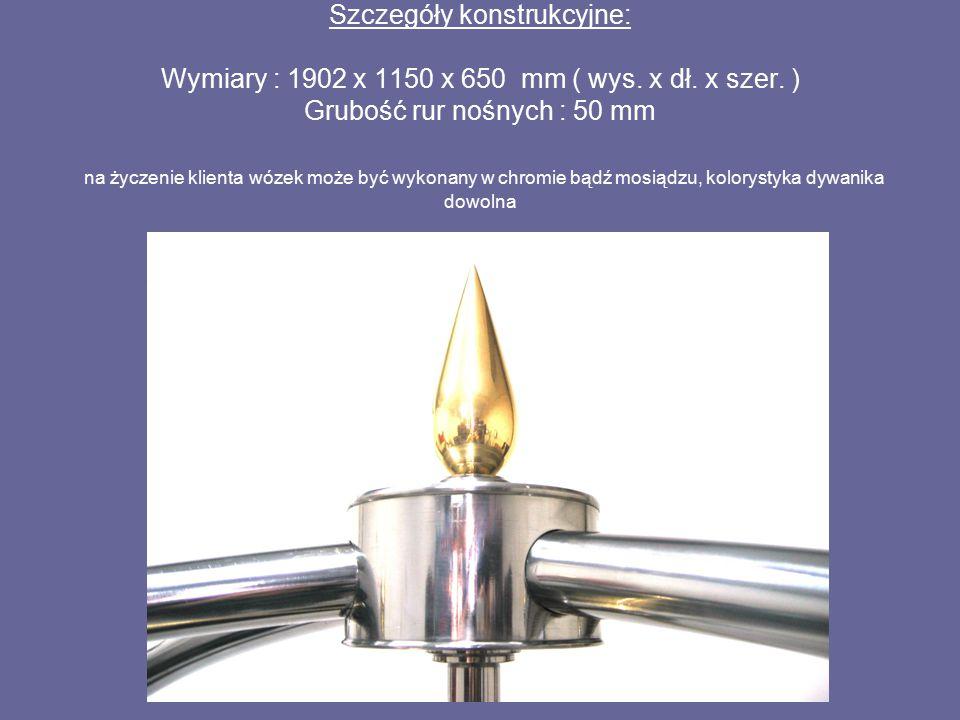 Szczegóły konstrukcyjne: Wymiary : 1902 x 1150 x 650 mm ( wys. x dł. x szer. ) Grubość rur nośnych : 50 mm na życzenie klienta wózek może być wykonany