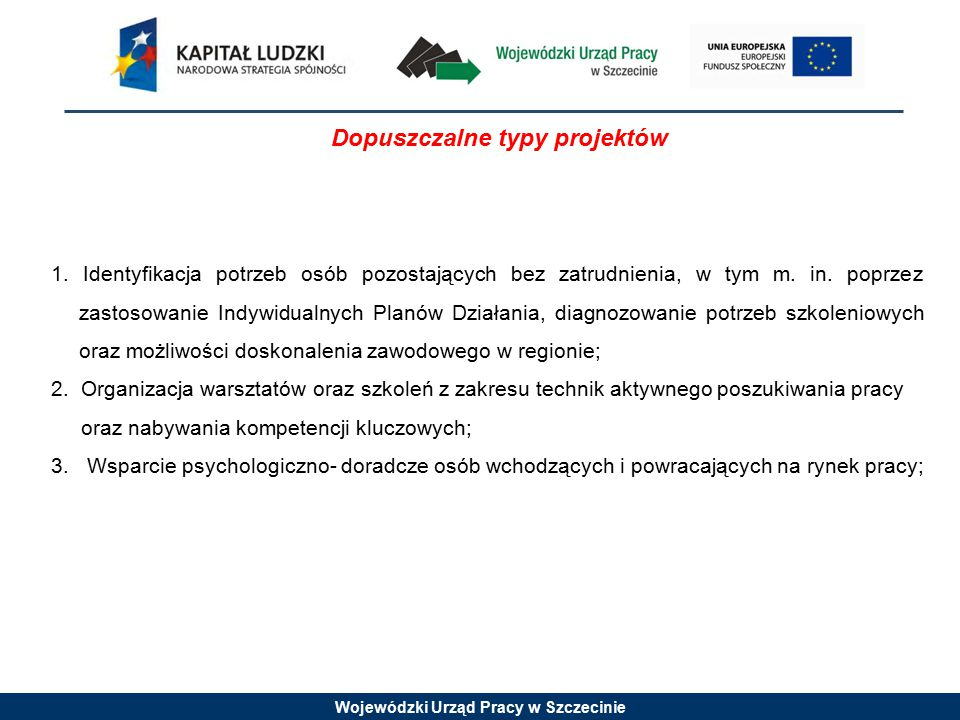 Wojewódzki Urząd Pracy w Szczecinie Dopuszczalne typy projektów 1. Identyfikacja potrzeb osób pozostających bez zatrudnienia, w tym m. in. poprzez zas