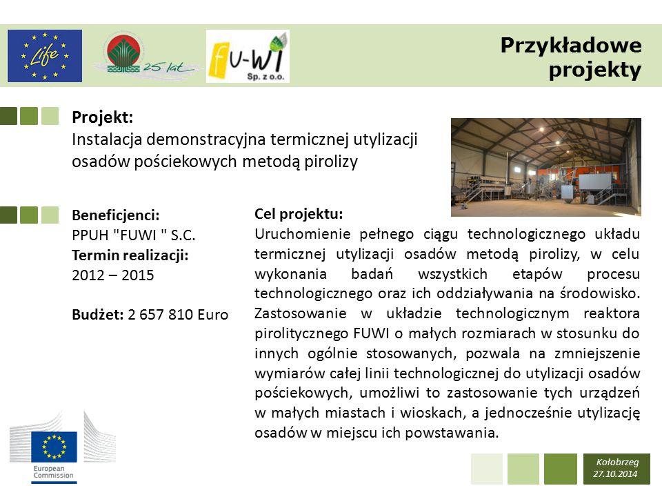 Projekt: Instalacja demonstracyjna termicznej utylizacji osadów pościekowych metodą pirolizy Kołobrzeg 27.10.2014 Beneficjenci: PPUH FUWI S.C.