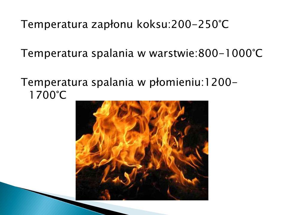 Temperatura zapłonu koksu:200-250°C Temperatura spalania w warstwie:800-1000°C Temperatura spalania w płomieniu:1200- 1700°C