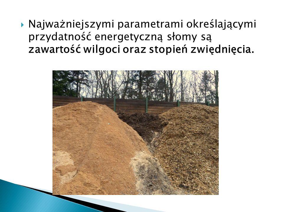  Najważniejszymi parametrami określającymi przydatność energetyczną słomy są zawartość wilgoci oraz stopień zwiędnięcia.
