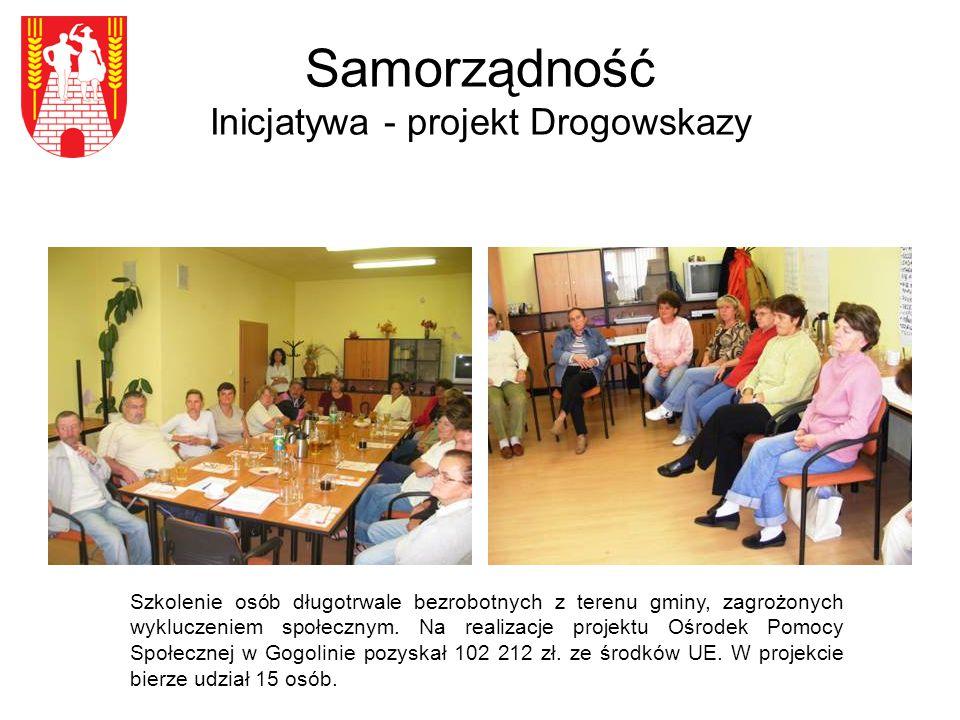 Samorządność Inicjatywa - projekt Drogowskazy Szkolenie osób długotrwale bezrobotnych z terenu gminy, zagrożonych wykluczeniem społecznym.
