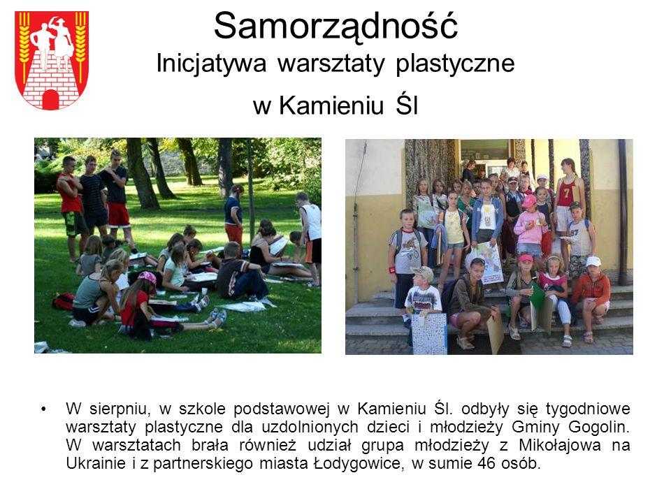 Samorządność Inicjatywa warsztaty plastyczne w Kamieniu Śl W sierpniu, w szkole podstawowej w Kamieniu Śl.
