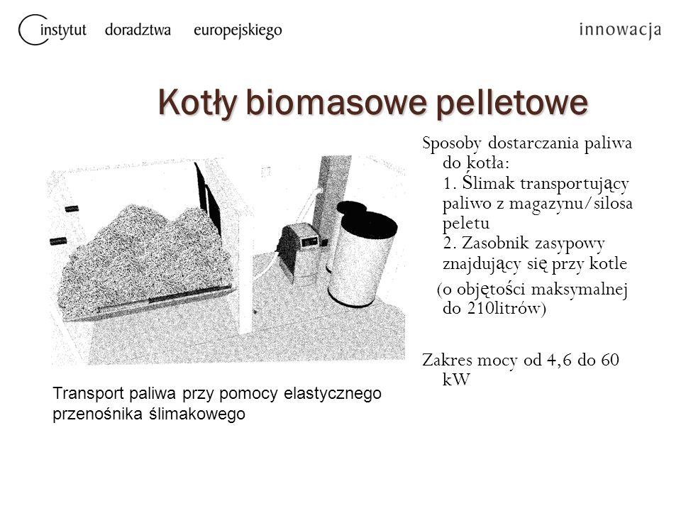 Kotły biomasowe pelletowe Sposoby dostarczania paliwa do kotła: 1. Ś limak transportuj ą cy paliwo z magazynu/silosa peletu 2. Zasobnik zasypowy znajd