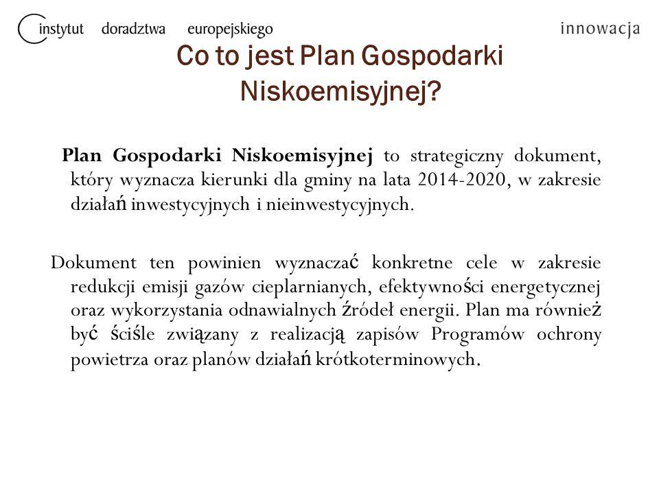 Co to jest Plan Gospodarki Niskoemisyjnej? Plan Gospodarki Niskoemisyjnej to strategiczny dokument, który wyznacza kierunki dla gminy na lata 2014-202