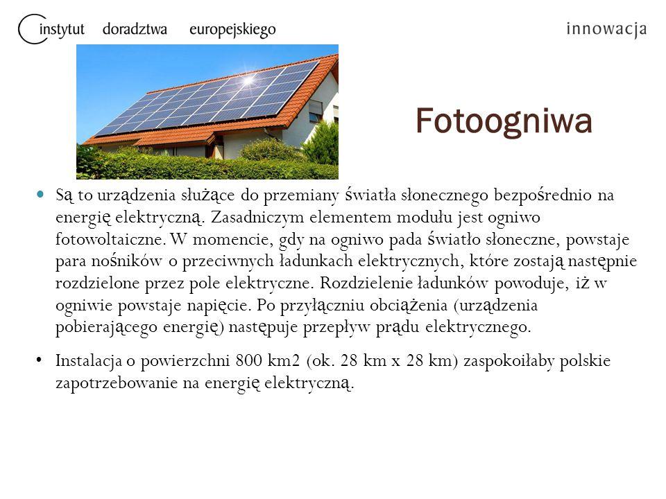 Fotoogniwa S ą to urz ą dzenia słu żą ce do przemiany ś wiatła słonecznego bezpo ś rednio na energi ę elektryczn ą. Zasadniczym elementem modułu jest