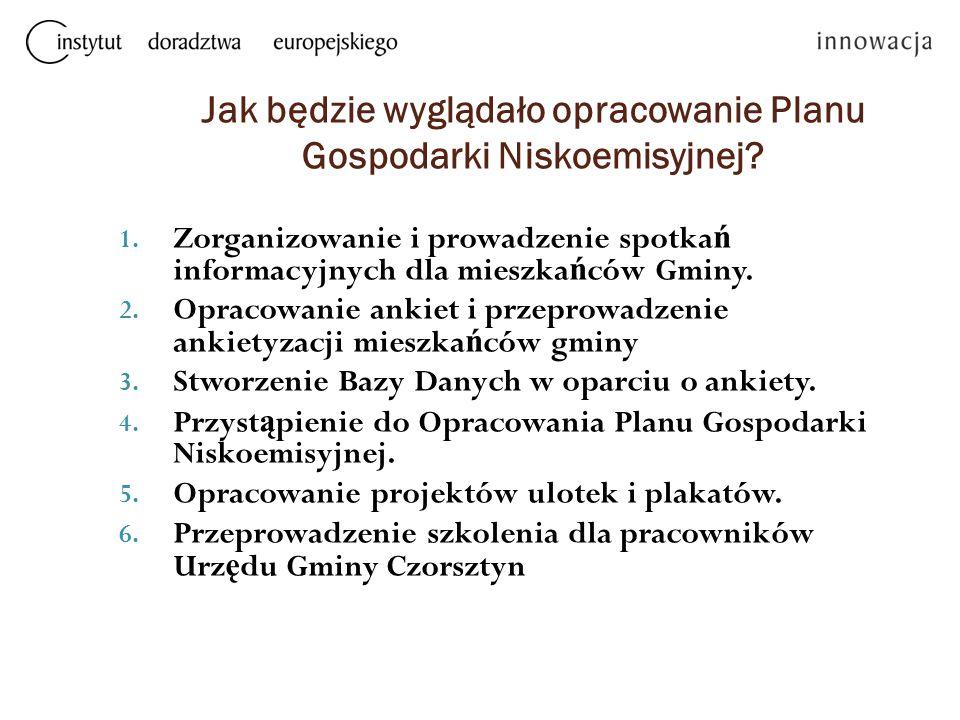 Jak będzie wyglądało opracowanie Planu Gospodarki Niskoemisyjnej? 1. Zorganizowanie i prowadzenie spotka ń informacyjnych dla mieszka ń ców Gminy. 2.