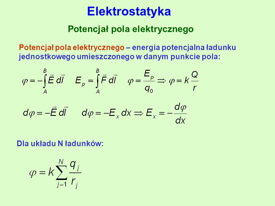 Potencjał pola elektrycznego Potencjał pola elektrycznego – energia potencjalna ładunku jednostkowego umieszczonego w danym punkcie pola: Dla układu N ładunków: Elektrostatyka