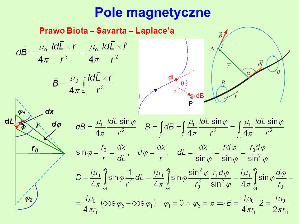 Pole magnetyczne Prawo Biota – Savarta – Laplace'a  r 11 dLdL dd r0r0 22 dx