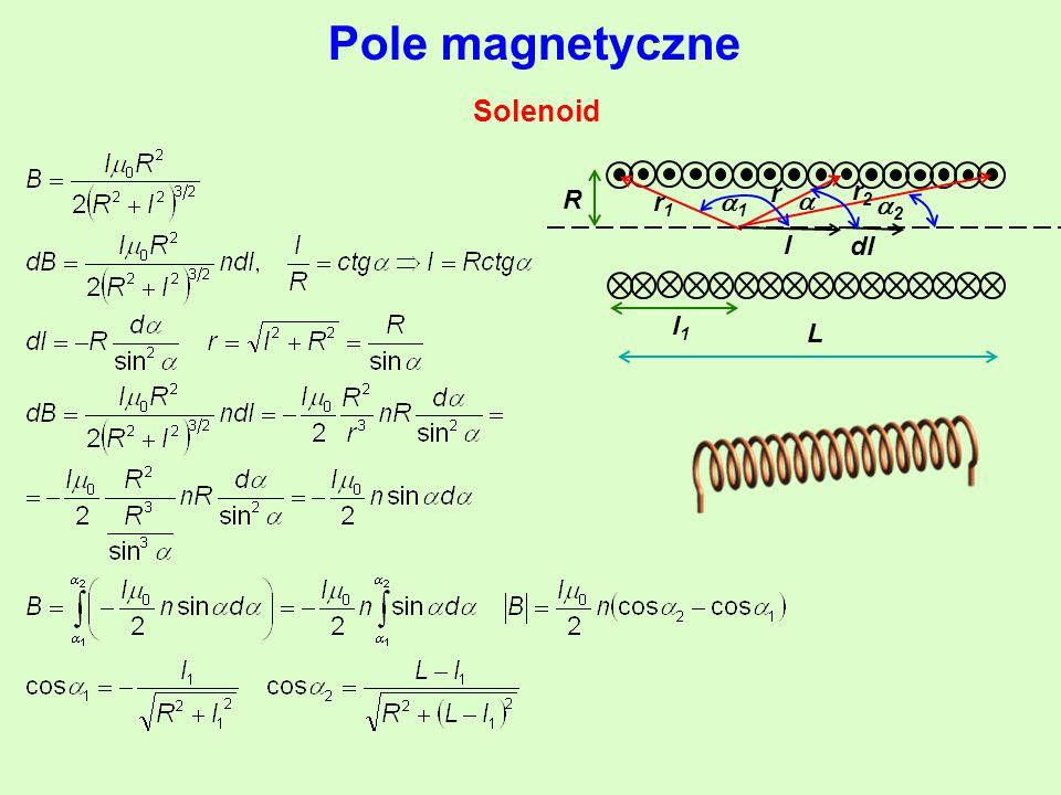 Pole magnetyczne Solenoid r r2r2 r1r1 11 l R dl L l1l1  22