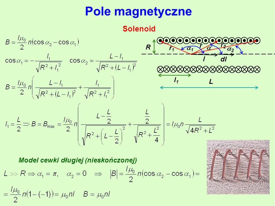 r r2r2 r1r1 11 l R L l1l1  22 Pole magnetyczne Solenoid Model cewki długiej (nieskończonej)