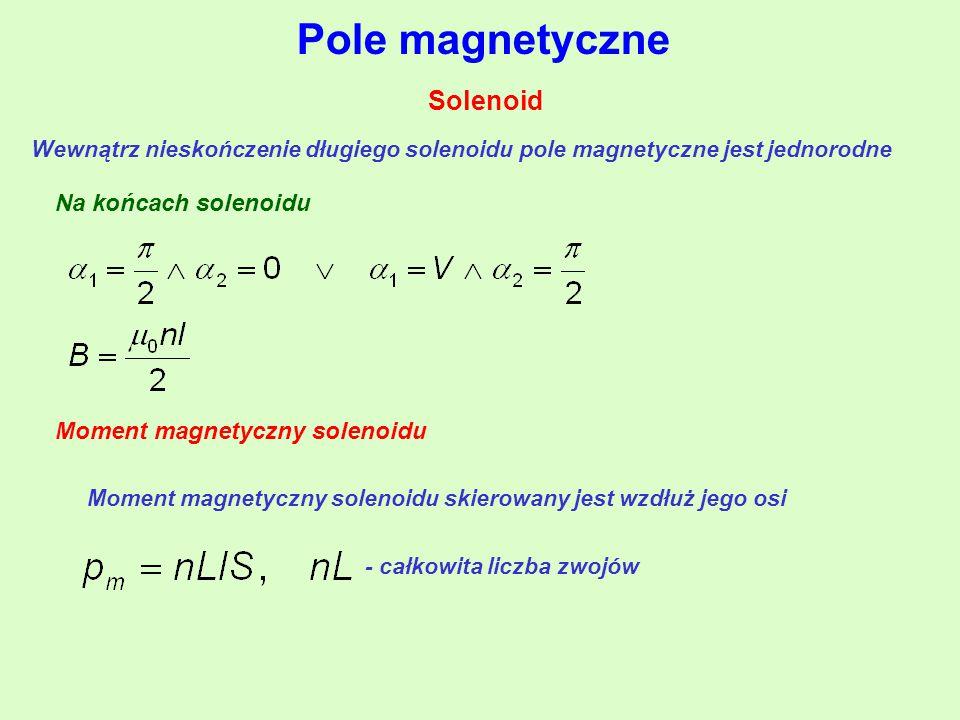 Pole magnetyczne Solenoid Wewnątrz nieskończenie długiego solenoidu pole magnetyczne jest jednorodne Na końcach solenoidu Moment magnetyczny solenoidu Moment magnetyczny solenoidu skierowany jest wzdłuż jego osi - całkowita liczba zwojów