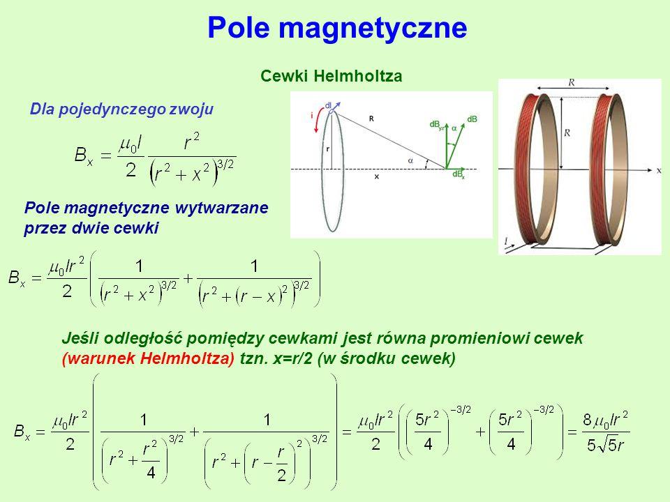 Cewki Helmholtza Pole magnetyczne Dla pojedynczego zwoju Pole magnetyczne wytwarzane przez dwie cewki Jeśli odległość pomiędzy cewkami jest równa promieniowi cewek (warunek Helmholtza) tzn.