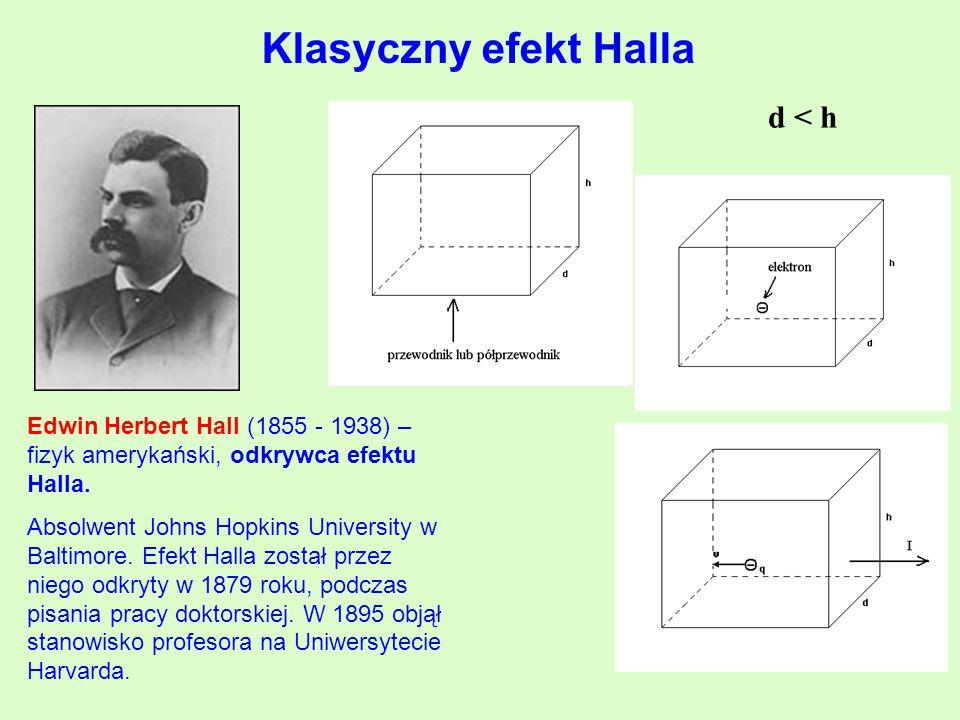 d < h Klasyczny efekt Halla Edwin Herbert Hall (1855 - 1938) – fizyk amerykański, odkrywca efektu Halla.