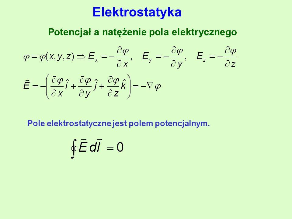 Potencjał a natężenie pola elektrycznego Pole elektrostatyczne jest polem potencjalnym.