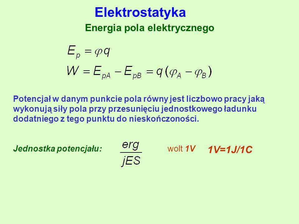 Energia pola elektrycznego Potencjał w danym punkcie pola równy jest liczbowo pracy jaką wykonują siły pola przy przesunięciu jednostkowego ładunku dodatniego z tego punktu do nieskończoności.