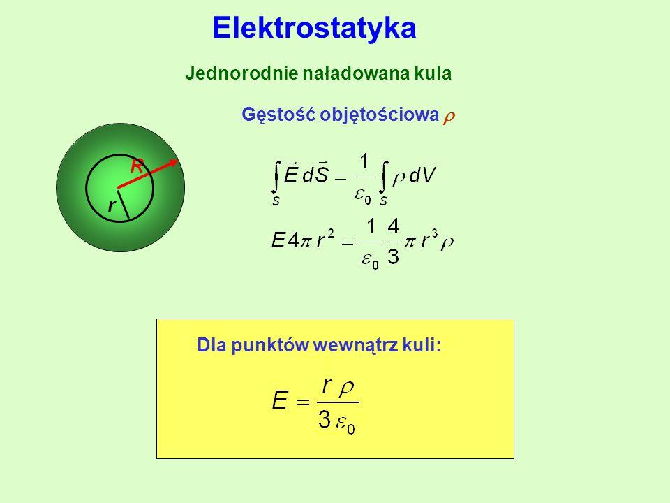 Jednorodnie naładowana kula R Gęstość objętościowa  Dla punktów wewnątrz kuli: r Elektrostatyka