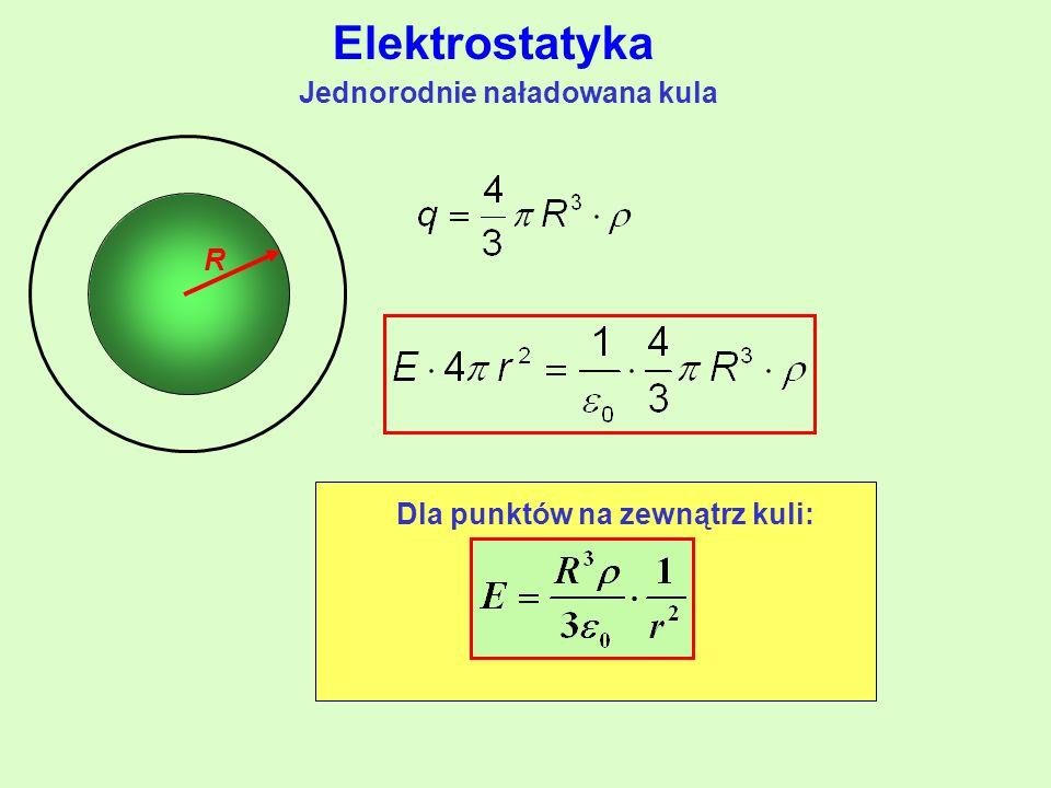 Jednorodnie naładowana kula R Dla punktów na zewnątrz kuli: Elektrostatyka