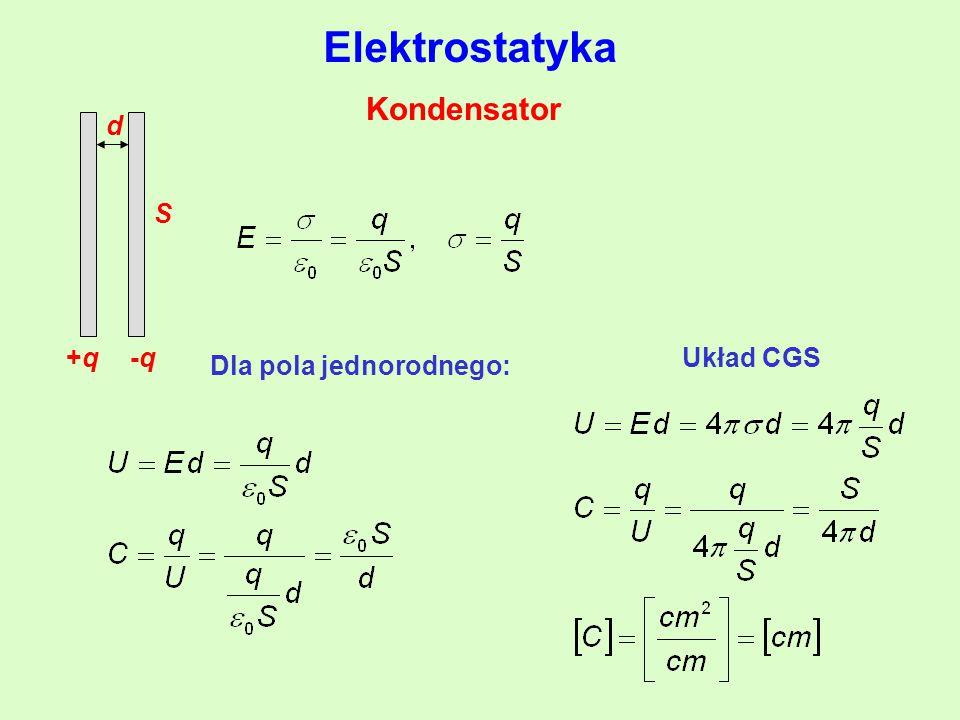 Kondensator +q+q-q-q d S Dla pola jednorodnego: Elektrostatyka Układ CGS