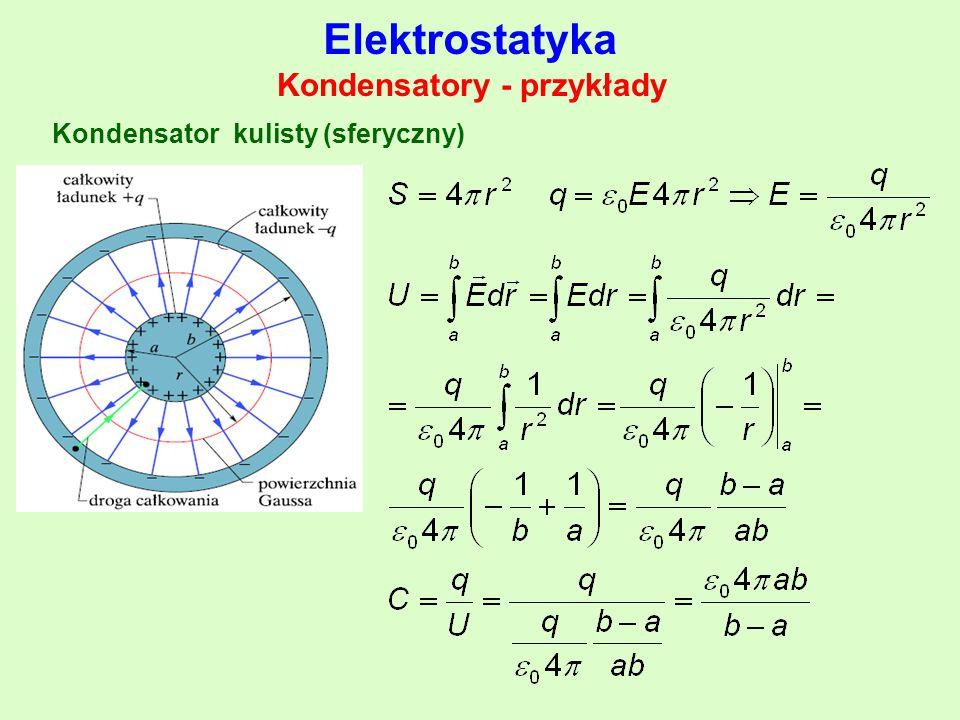 Kondensatory - przykłady Elektrostatyka Kondensator kulisty (sferyczny)