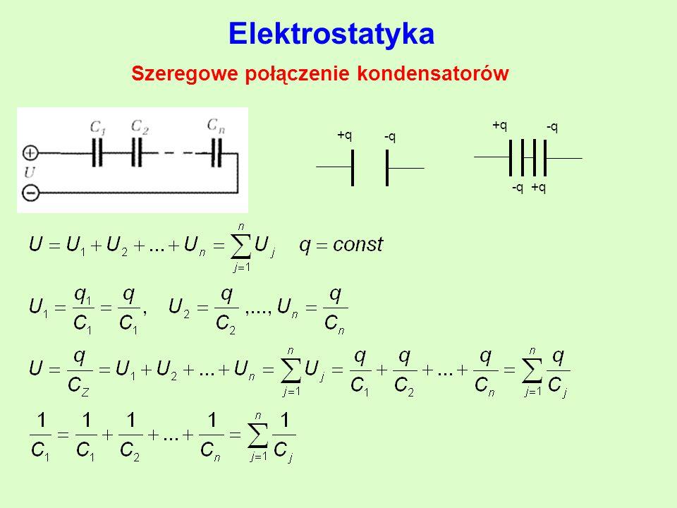 Szeregowe połączenie kondensatorów Elektrostatyka +q -q +q -q +q -q