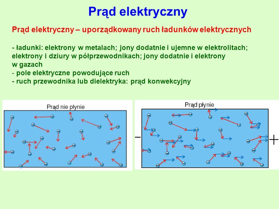 Prąd elektryczny Prąd elektryczny – uporządkowany ruch ładunków elektrycznych - ładunki: elektrony w metalach; jony dodatnie i ujemne w elektrolitach; elektrony i dziury w półprzewodnikach; jony dodatnie i elektrony w gazach - pole elektryczne powodujące ruch - ruch przewodnika lub dielektryka: prąd konwekcyjny