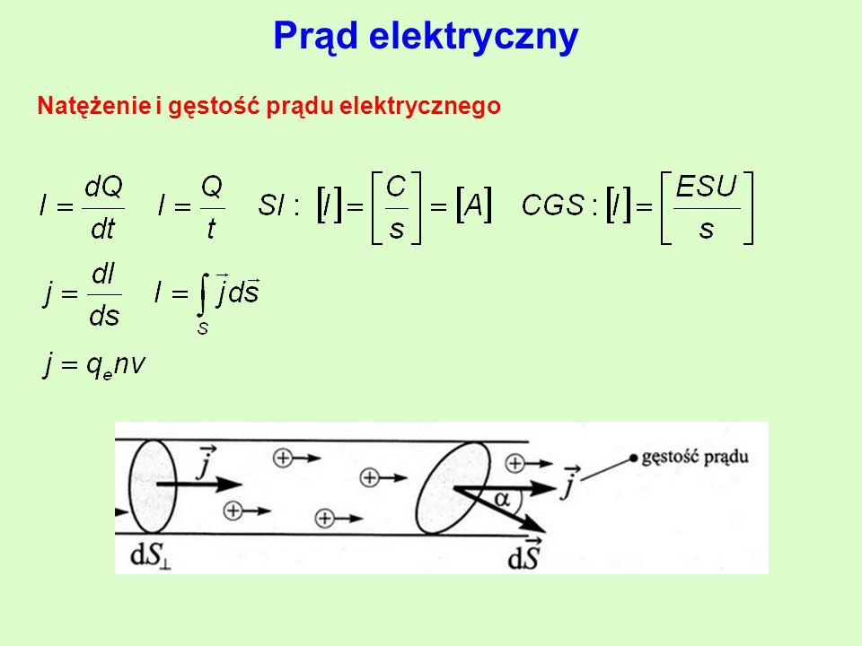 Prąd elektryczny Natężenie i gęstość prądu elektrycznego