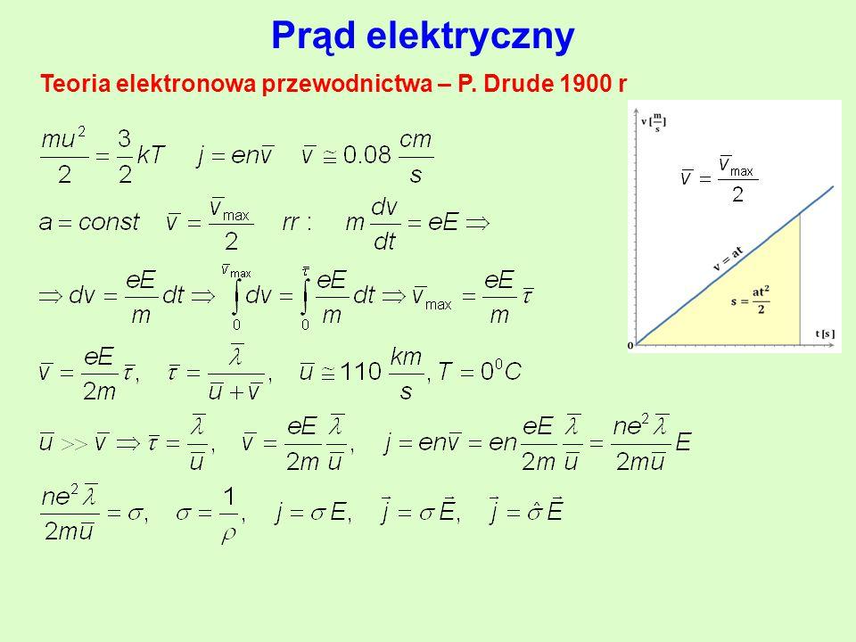 Prąd elektryczny Teoria elektronowa przewodnictwa – P. Drude 1900 r