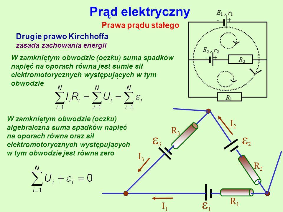 Prąd elektryczny Prawa prądu stałego Drugie prawo Kirchhoffa zasada zachowania energii W zamkniętym obwodzie (oczku) suma spadków napięć na oporach równa jest sumie sił elektromotorycznych występujących w tym obwodzie W zamkniętym obwodzie (oczku) algebraiczna suma spadków napięć na oporach równa oraz sił elektromotorycznych występujących w tym obwodzie jest równa zero 11 22 33 R1R1 R2R2 R3R3 I1I1 I3I3 I2I2