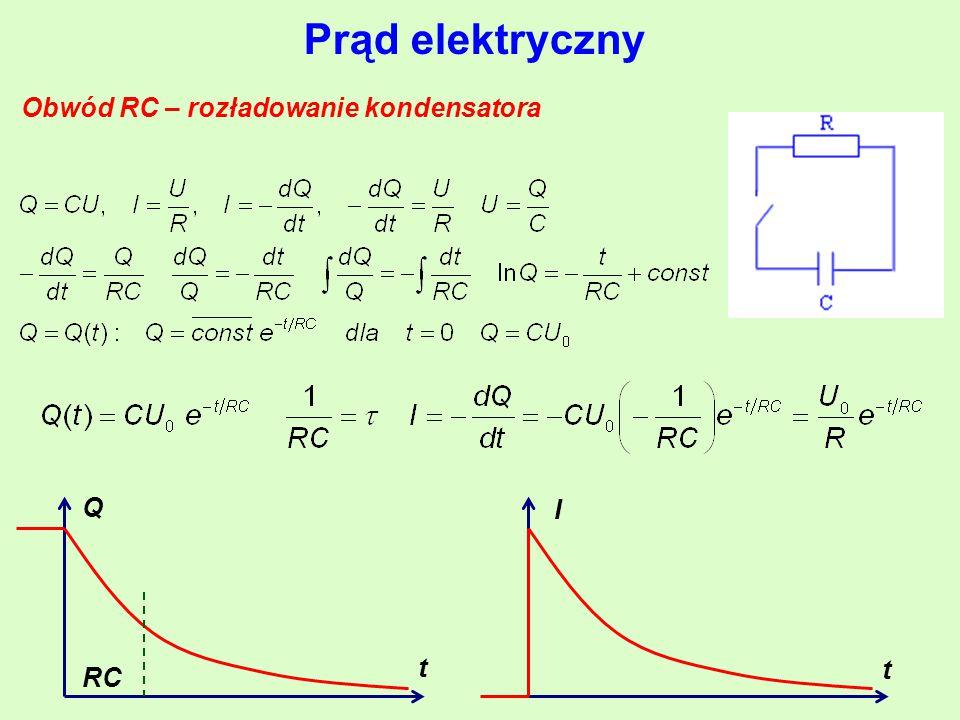 Prąd elektryczny Obwód RC – rozładowanie kondensatora t t Q RC I