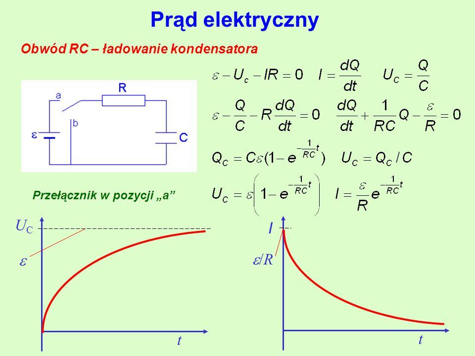 """Prąd elektryczny Obwód RC – ładowanie kondensatora Przełącznik w pozycji """"a  t UCUC I t /R/R"""