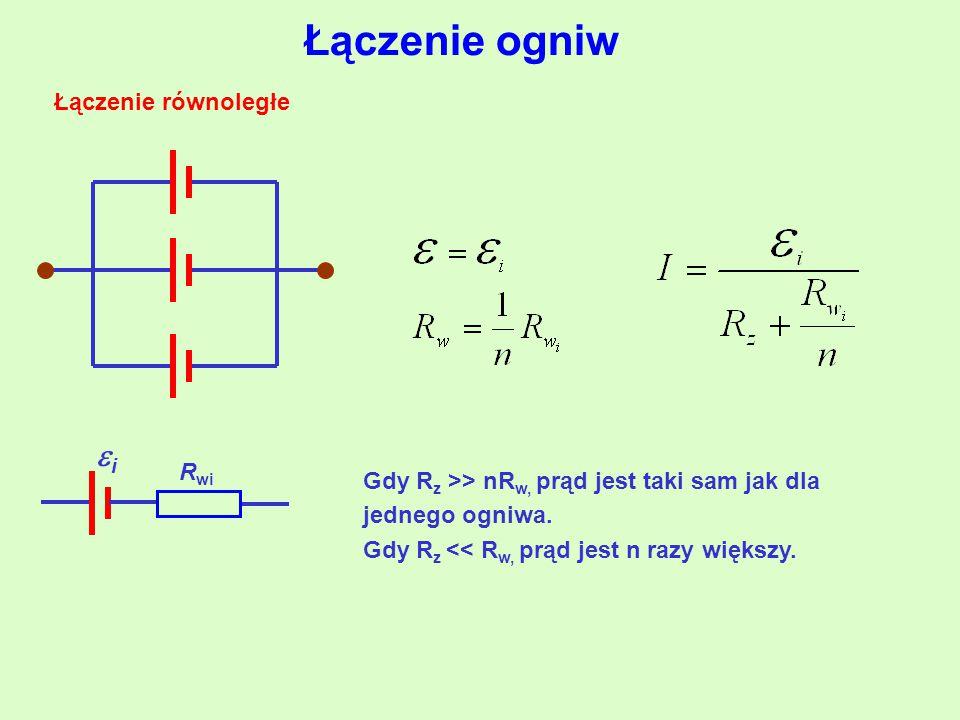 Łączenie ogniw Łączenie równoległe ii R wi Gdy R z >> nR w, prąd jest taki sam jak dla jednego ogniwa.