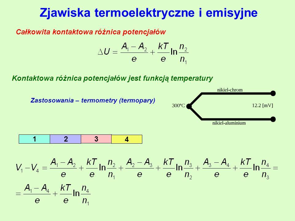 Zjawiska termoelektryczne i emisyjne 1 2 3 4 Całkowita kontaktowa różnica potencjałów Kontaktowa różnica potencjałów jest funkcją temperatury Zastosowania – termometry (termopary)