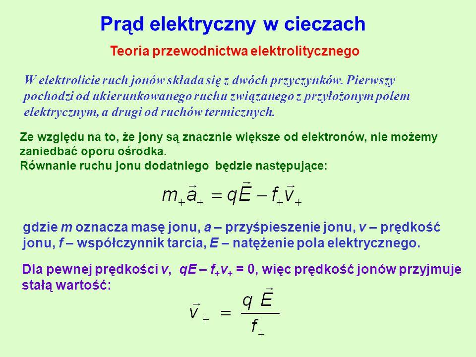 Prąd elektryczny w cieczach Teoria przewodnictwa elektrolitycznego W elektrolicie ruch jonów składa się z dwóch przyczynków.